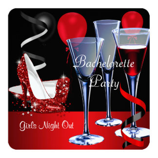 Bachelorette Parties Red Shoe Hi Heels Wine glass 5.25x5.25 Square Paper Invitation Card
