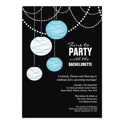 Bachelorette Party Aqua Blue Paper Lanterns Invite
