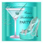 Bachelorette Party Aqua Teal Blue Turquoise Shoes Custom Invitation