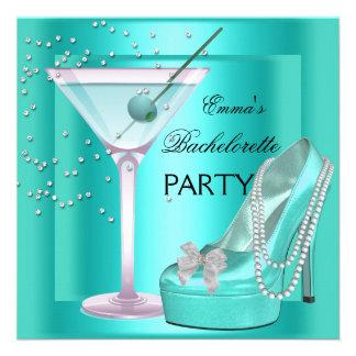 Bachelorette Party Aqua Teal Blue Turquoise Shoes Custom Announcements