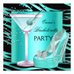 Bachelorette Party Aqua Teal Blue Turquoise Zebra Personalized Announcement
