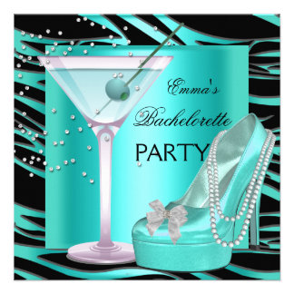 Bachelorette Party Aqua Teal Blue Turquoise Zebra Personalized Invitation