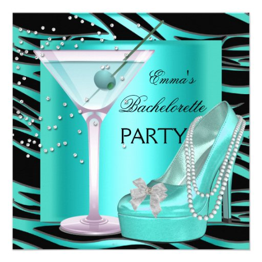 Bachelorette Party Aqua Teal Blue Turquoise Zebra Personalized Invitation