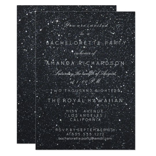 Bachelorette Party Birthay Glitter Black Minimal S Card