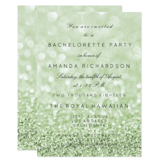 Bachelorette Party Birthay Glitter Greenery Mint Card