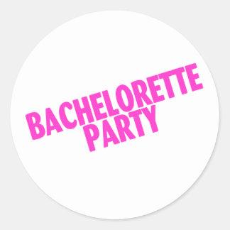 Bachelorette Party Bridesmaids Pink Round Sticker