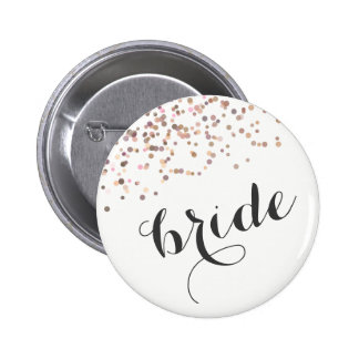 Bachelorette Party Button Bride Rose Gold Confetti