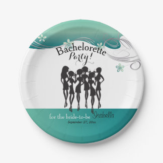 Bachelorette Party Cocktail Girls - Jade Paper Plate