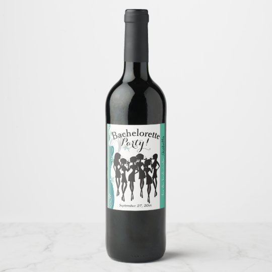 Bachelorette Party Cocktail Girls - Jade Wine Label
