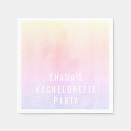 Bachelorette Party Cocktail Napkins Watercolor Disposable Napkin