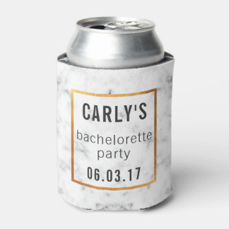 Bachelorette Party Coozie Cooler Gold Marble