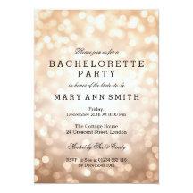 Bachelorette Party Copper Glitter Lights 13 Cm X 18 Cm Invitation Card