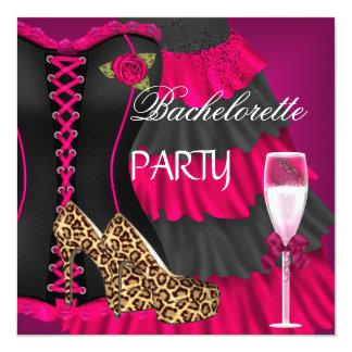 Bachelorette Party Corset Black Pink Dress Shoes Card