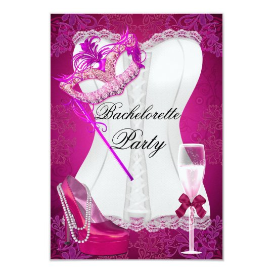Bachelorette Party Corset Pink Shoes mask Card