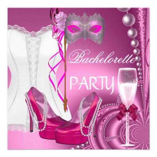 Bachelorette Party Corset Pink Shoes mask Custom Invites