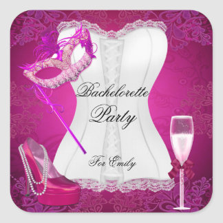 Bachelorette Party Corset Pink Shoes mask Square Sticker