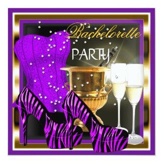 Bachelorette Party Corset Purple Zebra Gold 13 Cm X 13 Cm Square Invitation Card