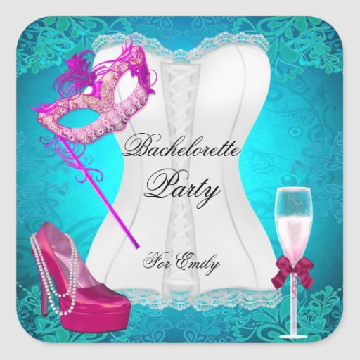 Bachelorette Party Corset Teal Pink Shoes mask Stickers