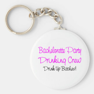 Bachelorette Party Drinking Crew Basic Round Button Key Ring
