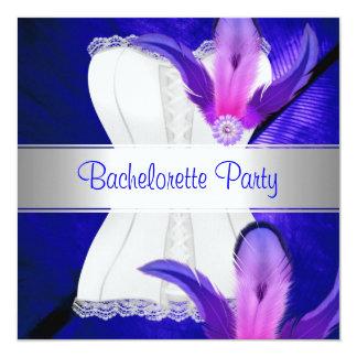 "Bachelorette Party Feather Blue 5.25"" Square Invitation Card"