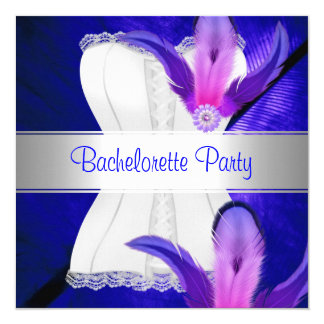 Bachelorette Party Feather Blue 13 Cm X 13 Cm Square Invitation Card