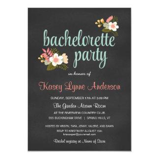 Bachelorette Party Floral Chalkboard Invitations