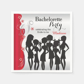 Bachelorette Party Girls - Deep Red Disposable Napkins