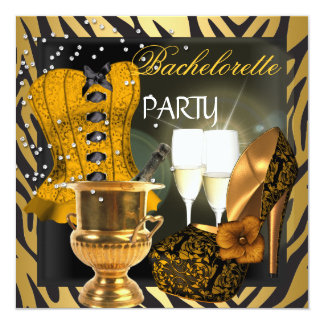 Bachelorette Party Gold Black Corset Shoes 13 Cm X 13 Cm Square Invitation Card