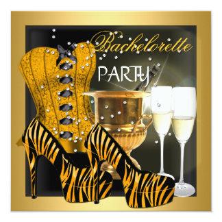 Bachelorette Party Gold Black Corset Zebra Shoes 13 Cm X 13 Cm Square Invitation Card
