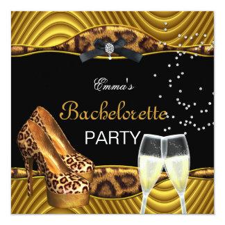Bachelorette Party Gold Leopard Black Shoes 2 5.25x5.25 Square Paper Invitation Card