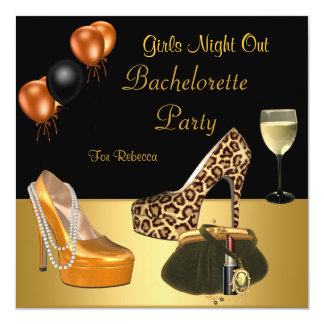 Bachelorette Party Gold Shoes Hi Heels Wine Glass Card