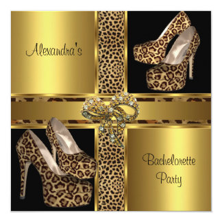 Bachelorette Party Hi Heel Shoes Leopard Gold 2 Personalized Invites