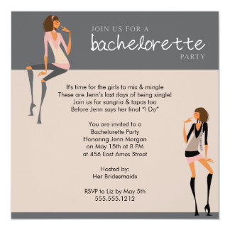 """bachelorette party invitation 5.25"""" square invitation card"""