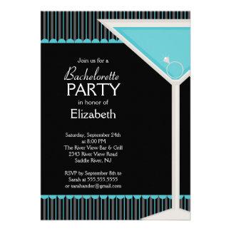Bachelorette Party Invitation Martini Glass Blue
