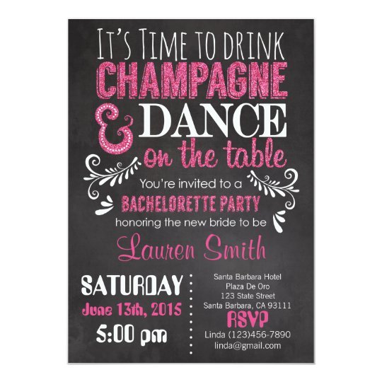 Bachelorette Party Invitation Pink Glitter