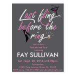 Bachelorette party invitation postcard