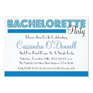 "Bachelorette Party Invitations (Blue In Lights) 5"" X 7"" Invitation Card"