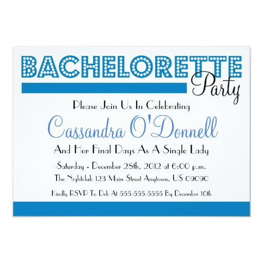 Bachelorette Party Invitations (Blue In Lights)