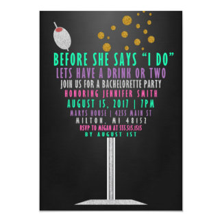 Bachelorette Party Invitations - Glitter