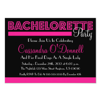 """Bachelorette Party Invitations (Pink In Lights) 5"""" X 7"""" Invitation Card"""