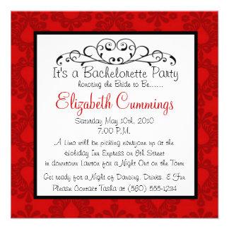 bachelorette party invite fun simple classy red