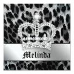 Bachelorette Party Invite Leopard Black Crown