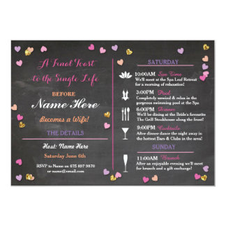 Bachelorette Party Itinerary Bridal Shower Invite