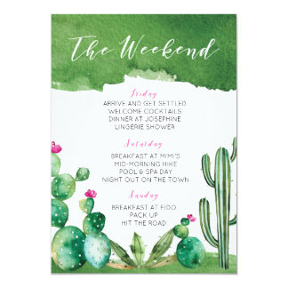 Bachelorette Party Itinerary - Palm Springs Card