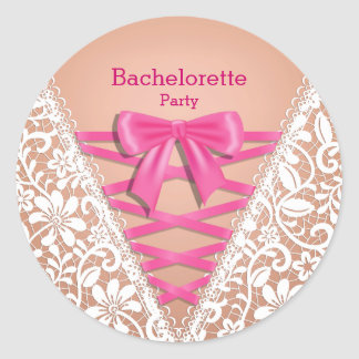 Bachelorette Party Lace Lingerie Corset Round Sticker