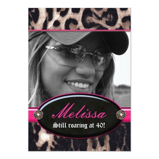 Bachelorette Party Leopard Flower Jewel Pink 2 Card