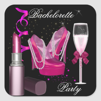 Bachelorette Party Lipstick Pink Shoes Champagne 1 Square Sticker