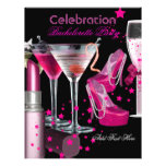 Bachelorette Party Lipstick Pink Shoes Champagne Personalized Flyer