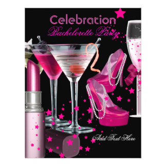Bachelorette Party Lipstick Pink Shoes Champagne Flyer