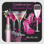 Bachelorette Party Lipstick Pink Shoes Champagne Square Sticker